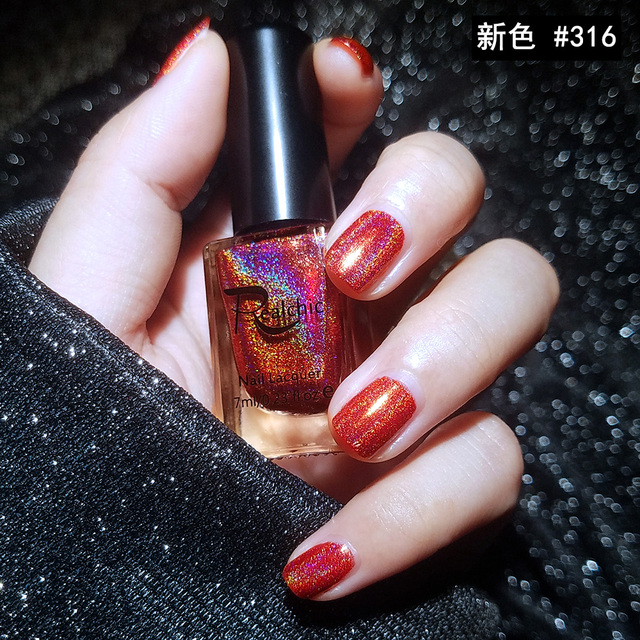 Newest Color Realchic Brand 7ml Holo Luminous Glitter Gel Nail Polish Varnish Art Red