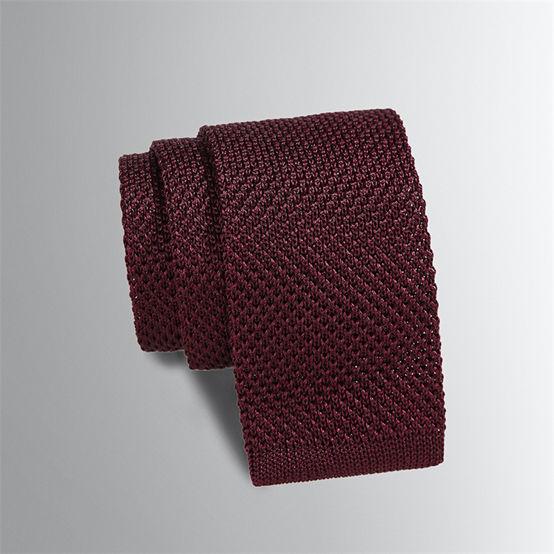 Mens Slim Knitted Ties Wool Knit Tie Fashion Skinny Neckties For Men Wedding Accessories Winter Burgundy Navy