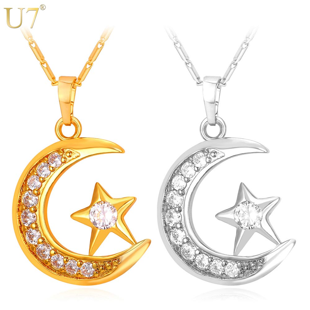 U7 Brand Muslim Crescent Pendant Necklace Silver/Gold Color Cubic Zirconia CZ Islam Moon Star Jewelry Women Gift P923