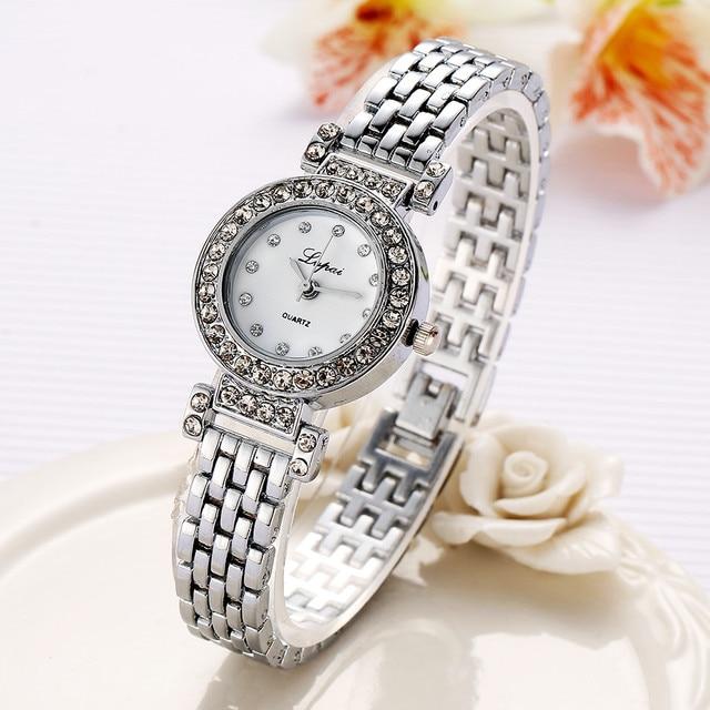 2018 top Brand Fashion Bracelet Watch Women Gold Luxury Crystal Alloy WristWatch