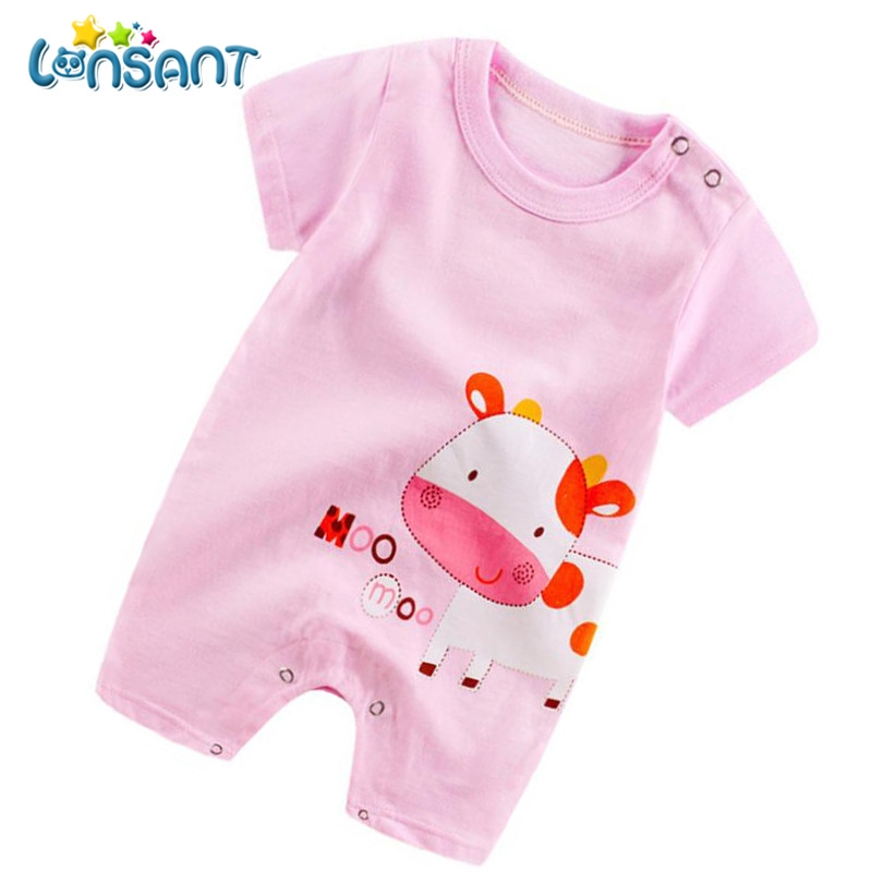 LONSANT Summer Baby Jumpsuit Boys Girls Unisex Clothes Short Sleeve Rompers High Quality Cotton Fantasias Infantil Dropshipping