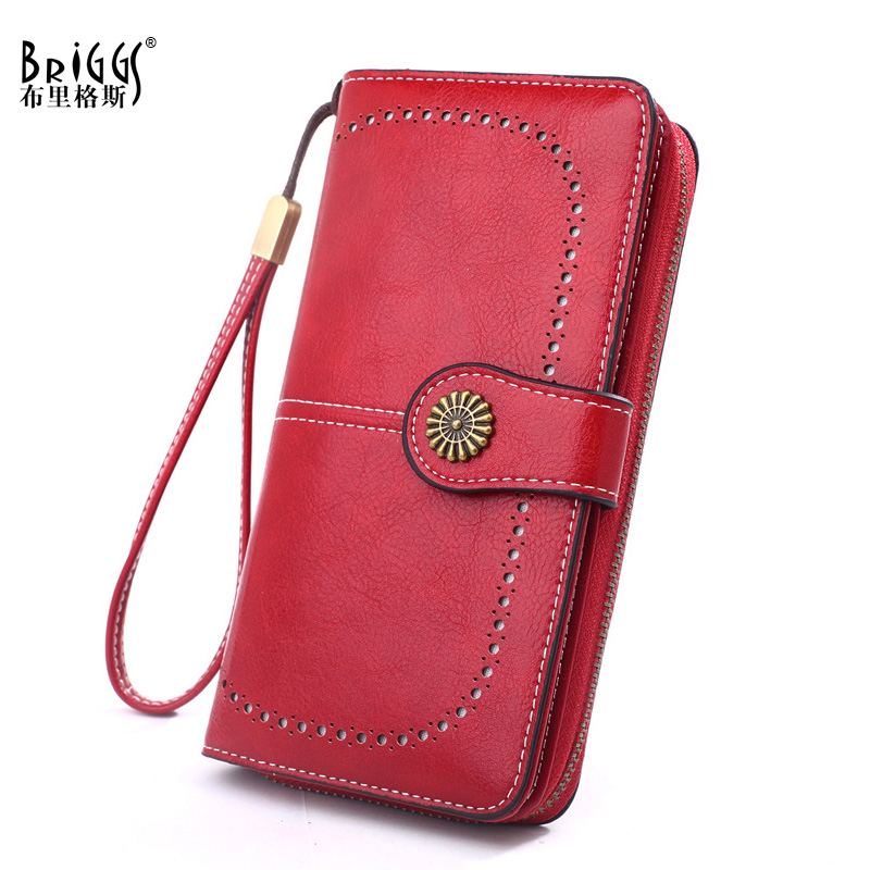 BRIGGS Vintage PU Leather Women Long Wallet Female zipper Hasp for money Clutch Coin Purse Credit Card Holder cartera mujer