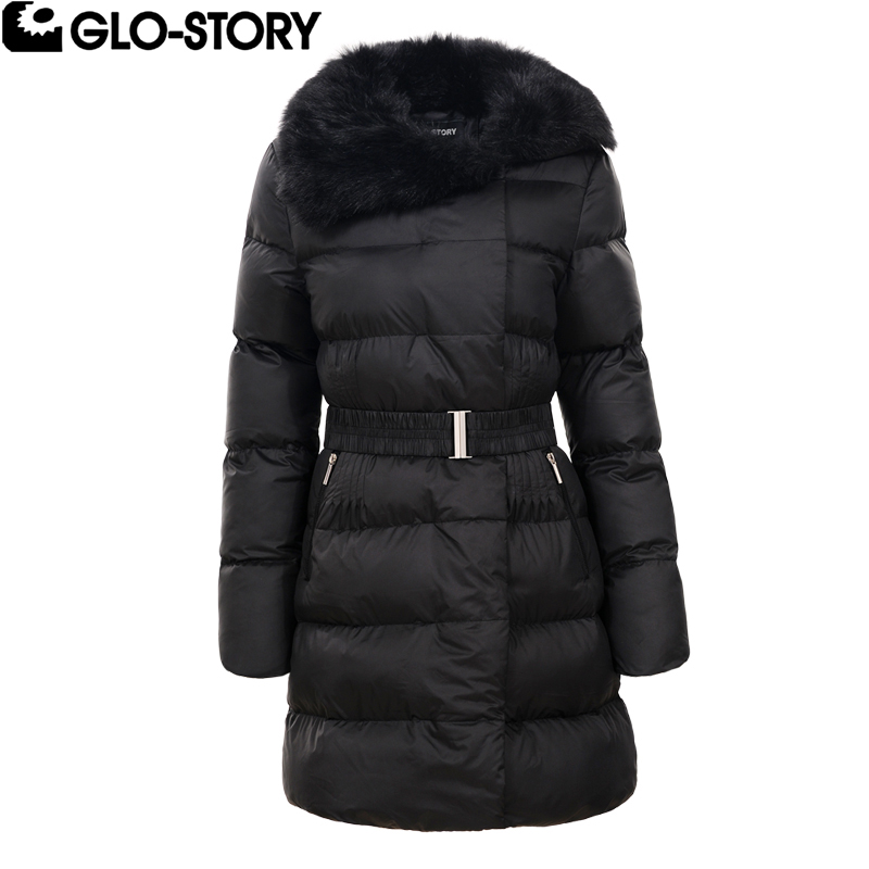 GLO-STORY Woman 2017 Thick Padded Jacket Coat Women Turn down Fur Belt Long Winter Parka Femme  parkas Coats WMA-4516 pregnant women of han edition easy to film a word long woman with thick cotton padded clothes coat quilted jacket down jacket