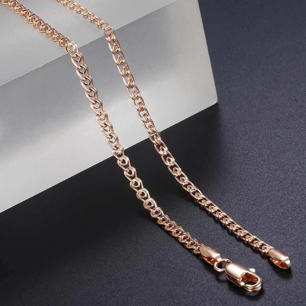 3mm Fina Colar Para Mulheres Raparigas 585 Rose Gold Chain link Colar Mulher Jóias Atacado Hot Presentes Dia Dos Namorados 50.5cm GN462