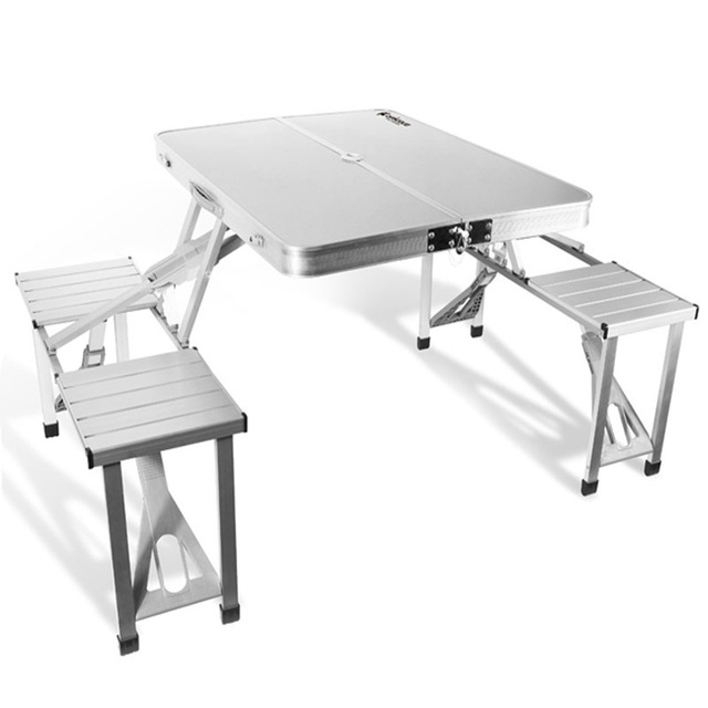 New Folding Table Outdoor Garden Aluminum Portable Camping Tables Picnic With 4 Seats