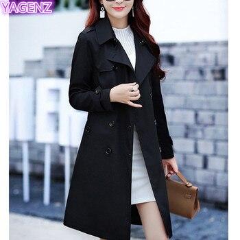 YAGENZ Plus size Trench Coat Autumn Coat Women Long Coats Windbreaker Top Double-breasted Boutique Women Clothing Fashion Coat88 4