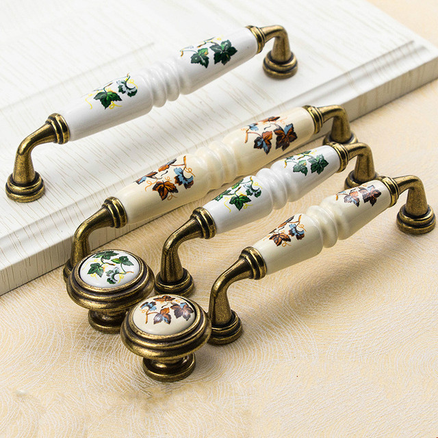 Garden Ceramic Furniture Kitchen Cabinet Drawer Handle, Flower Green Leaf Pattern Wardrobe Locker, Bedside Table Knob