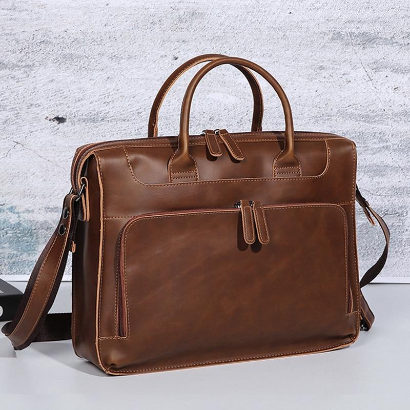 Crazy Horse Men's Briefcase Handbag Pu Leather Messenger Travel Bag Business Men Bags Tote Man Casual Crossbody Briefcases