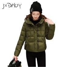 JXDINOY 2017 Winter Parkas Basic Jackets Female Women Printing Hooded Coats Cotton Jacket Womens Outwear Coat JX833