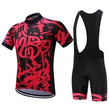 цена на 2018 New Pro Team Cycling Jersey Set Breathable Anti-UV Men Shorts Bib Bicycle Set Mountain Bike Clothing Wear Ropa Ciclismo Red