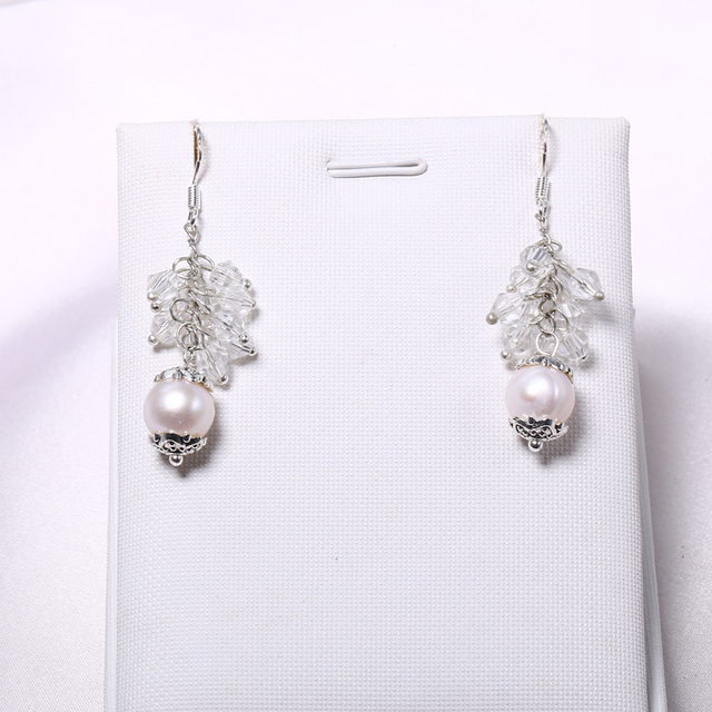 925 Sterling Silver 9-10mm Cultured Pearl Drop Earrings