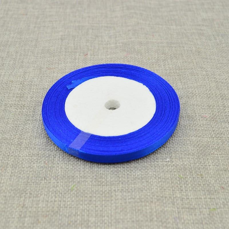 10 мм, 25 ярдов, шелковая атласная лента для свадебного автомобиля, ручная работа, Подарочная коробка для конфет, материалы для украшения, рождественские ленты - Цвет: Royal blue