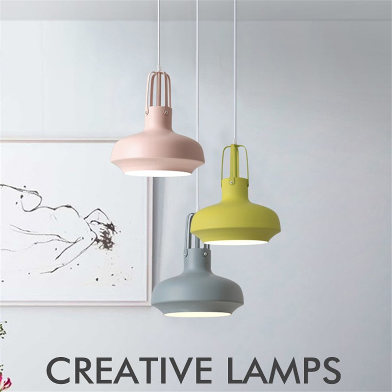 Nordic Modern LED Pendant Light Color Iron Hanging Lamp Dining Room Lights Loft Deco Home Pendant Lighting Lampara Colgante