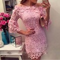 2017 Summer Lace Off-the-shoulder 3/4 Sleeve Pink Women Sexy Evening Party Mini Dress Fashion Autumn Casual Clothing vestidos