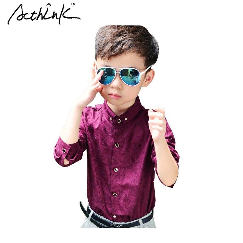 ActhInK New Design Children Spring Formal Floral Dress Shirts for Boys Fashion Kids Long Sleeve Red & Blue Wedding Shirts, YC147