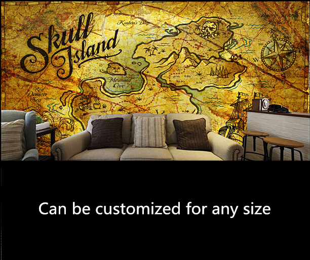 Us 299 Custom Retro Wallpaper 3d Pirate Treasure Map For The Living Room Bedroom Tv Background Wall Vinyl Papel De Parede In Wallpapers From Home