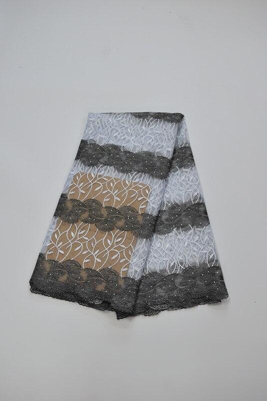 Tissu africain brodé de dentelle de maille tissu français de dentelle de filet 5yds/pc pour la robe de mariée 16. A20 - 6