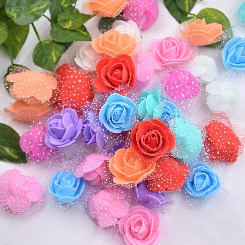 50 шт. 3 см DIY искусственный цветок Роза мини ПЭ пена роза искусственные головки цветов Скрапбукинг Подарочная коробка diy ВЕНОК многократное использование
