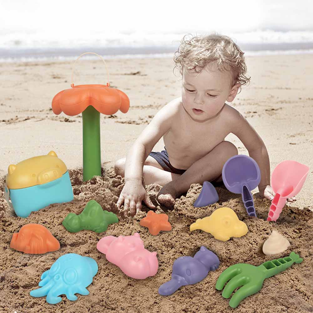 16pcs/set Sand Clay Mold Digging Shovel Tools Portable Beach Sand Toys Set Bath Water Playing Toy
