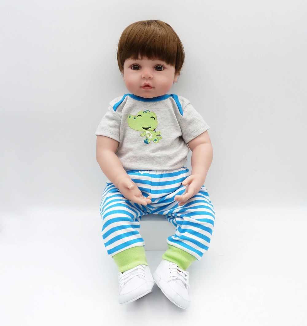 2e672f79e71568 ... big size 60cm Silicone Reborn Dolls Toddler Vinyl Dolls Brinquedos Boutique  Gift Handmade PP Cotton Body ...