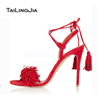 Women Sandals 2016 New Fashion Woman Shoes Blue And Red Shoes For Women Sexy Red High
