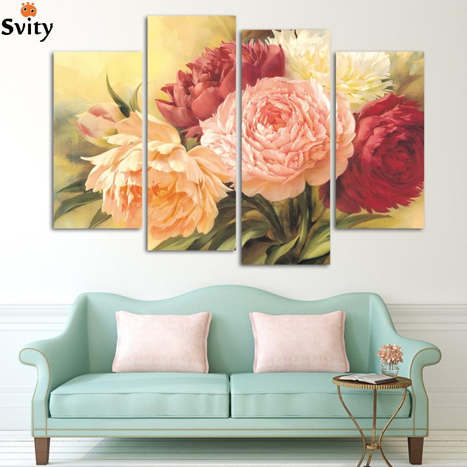 4 gratis frakt billig kinesisk rose Modern Art Deco veggmaleri maleri - Hjemmedekorasjon