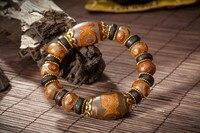 Natuurlijke Tibet Derde Tibetaanse god bead stone man hand string van nationale wind herstellen oude manieren zijde kraal armband