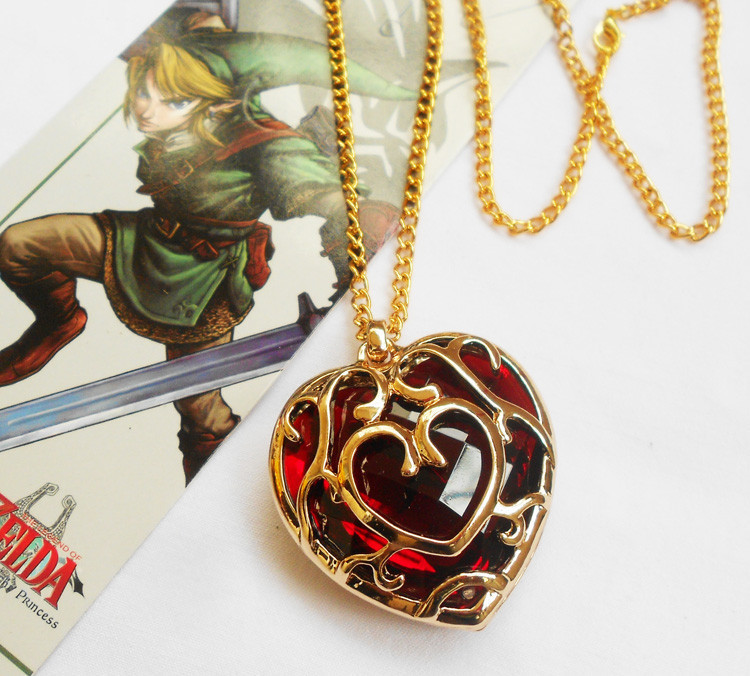 The legend Of Zelda Red Heart Crystal Necklace Alloy Pendant Necklace Gift Wholesale Dropship Free Shipping