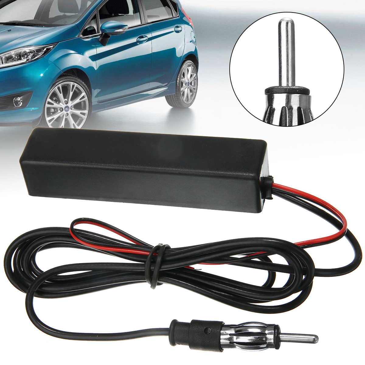 1pcs 15m Car Aerial Electronic Stereo AM FM Radio Hidden Amplified Antenna Aerial 12V Universal