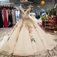 LS94451 dentelle fleurs champagne beauté robe de soirée v-cou hors épaule dentelle dans le dos robe de soirée avec long train rapide gratuite