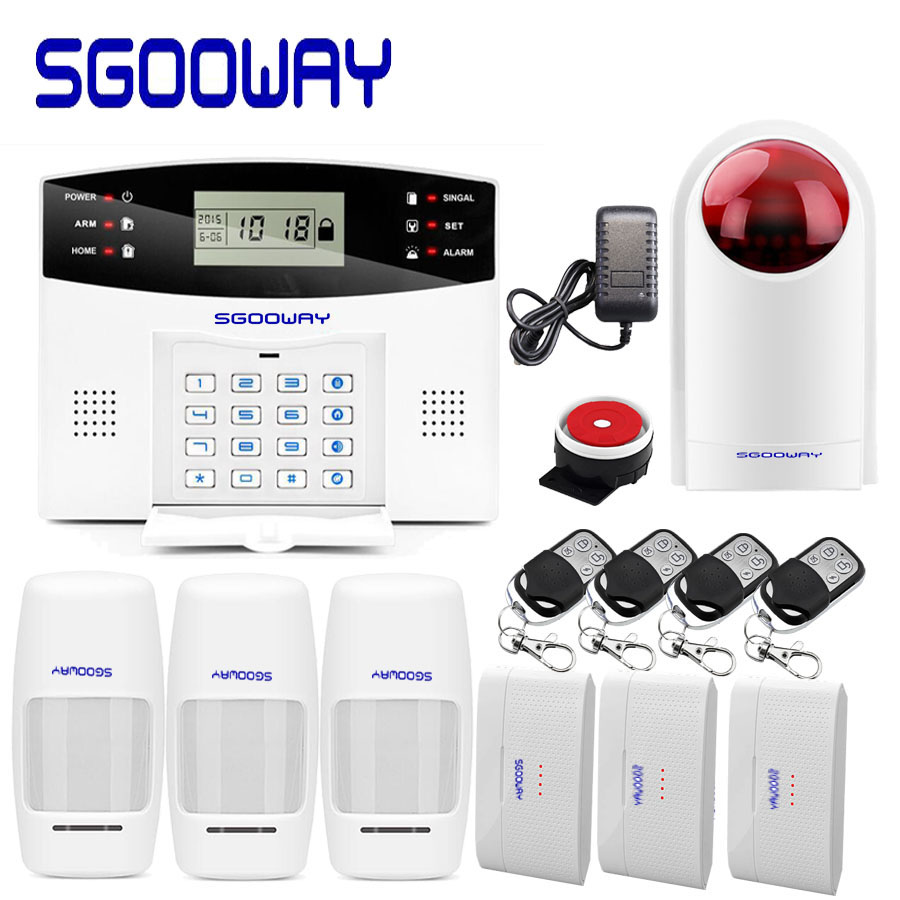 Sgooway EN RU ES PL FR Wireless Home Security GSM Alarm Burglar system APP Remote Control Arm Disarm