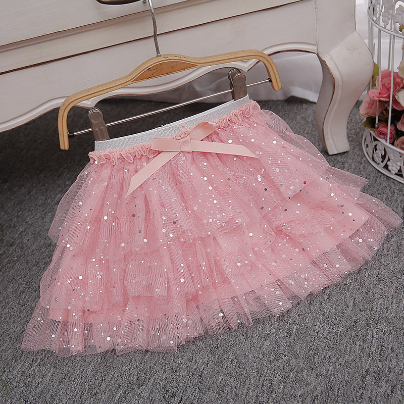 Girl TUTU Skirt Summer New Girls Fashion Pink White Sparkle Bow Skirts Baby