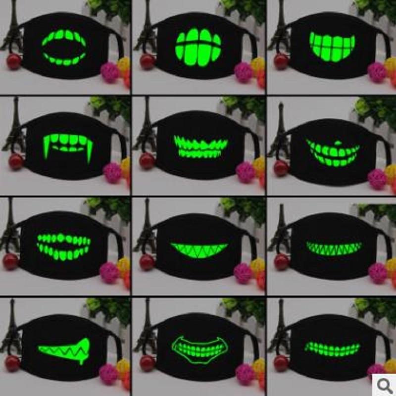 Personality Teeth Luminous Mask Fashion Couple Creative Riding Luminous Black Mask