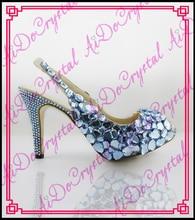 Aidocrystal 2016 high heel plattform schuhe frau peep/offene spitze frauen pumpen Kristall sexy high heels schuh weiblichen für sommer