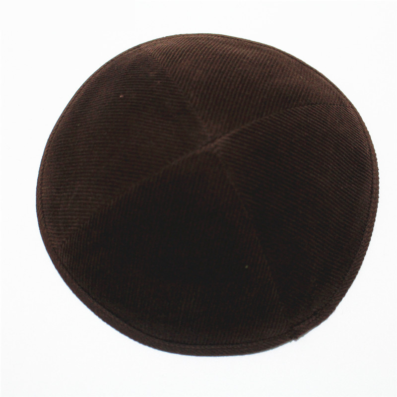 Brown Color Jewish Yarmulke Solid  High Quality Dome Size 19cm Cotton Velvet Kippah Jewish Cap