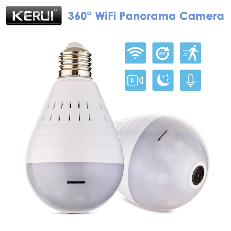 KERUI LED Wireless Panoramic Fisheye Bulb Lamp CCTV Camera Home Security WiFi 960P IP Camera 360 Degree ONVIF Night Vision new hd 3mp led bulb light wireless camera fisheye panoramic wifi network ip home security camera system for ios android p2p