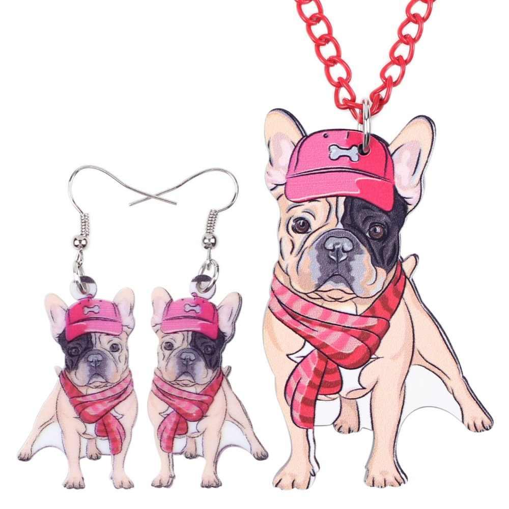 Bonsny Marka Takı Setleri Akrilik Bildirimi Fransız Bulldog Pug Köpek Kolye Küpe Gerdanlık Yaka moda takı Kadınlar Kız