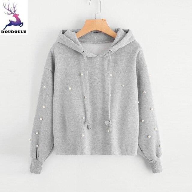 6ef1d3db548 DOUDOULU Female sweatshirt Women Pearl Hoodie Sweatshirt Hooded Pullover  Tops Blouse Long Sleeve Coat Moletom Feminino