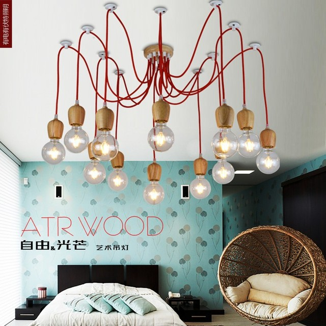 Vintage Pendelleuchte Eichenholz Lampe Bunte Draht E27 E26 Sockel