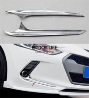 2pcs ABS Front Fog Light Eyebrow Eyelid Eyeline Cover Trim For Hyundai Elantra AD Avante 2016