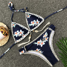 blue & white printed swimsuit