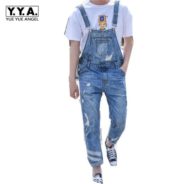 Harajuku Grand Garçon Slim Fit Trou Salopette une pièce Hommes Déchiré Jeans  Cargo Rétro Lavé Denim a3e2c3c953d