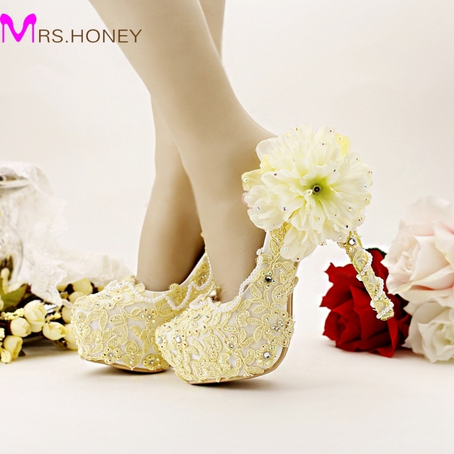 pure yellow bride shoes high heels platform dress shoes lace flower rhinestone wedding shoes bridal pumps