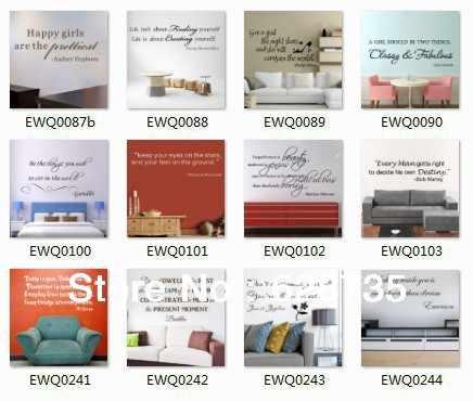 Настенные наклейки оптом магазин-Различные стили смешанный заказ настенные Декали с цитатами оптом Бесплатная доставка через FedEx UPS EMS