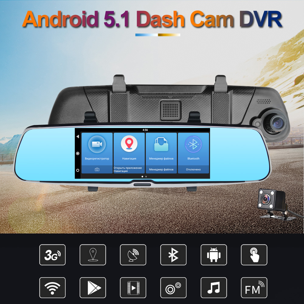 7 Touch Screen 3G internet Car Rearview Mirror Monitor with GPS DVR FM Transmitter Android 5.1 Quad Core 1G DDR3 16G Flash 7303 niorfnio portable 0 6w fm transmitter mp3 broadcast radio transmitter for car meeting tour guide y4409b