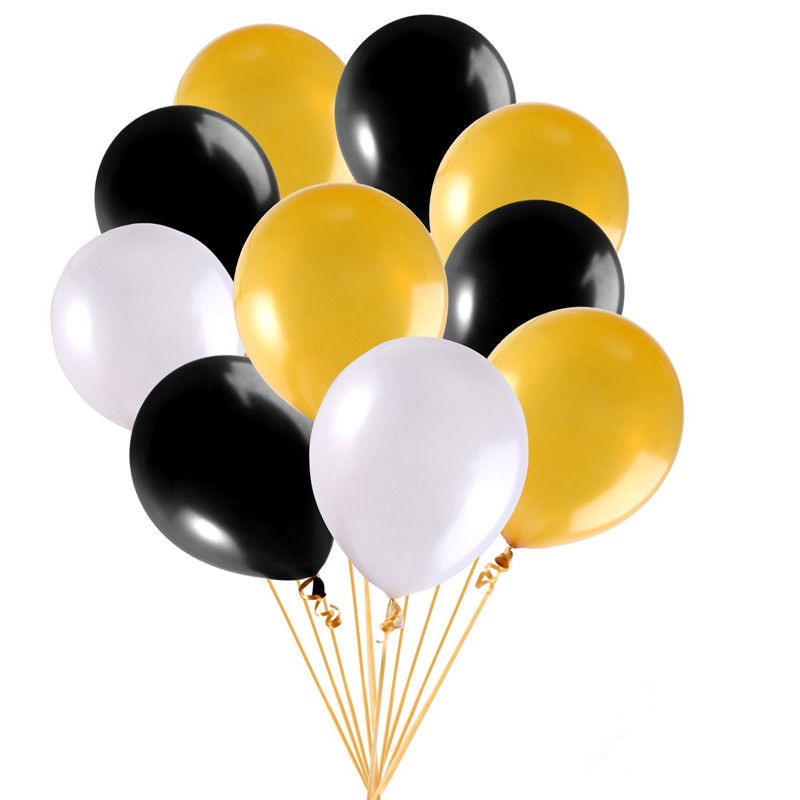 50pcs 12 inch 2 8g Latex Party Balloons Gold White and Black with Gold Curling Ribbon Roll for Party Decoration and Supplies in Ballons Accessories from Home Garden