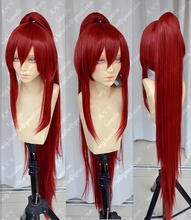 Anime Fairy Tail Erza Scarlet คอสเพลย์วิกผมยาว 100 ซม.ไวน์แดงสังเคราะห์ผมวิกผม + หมวกวิกผม