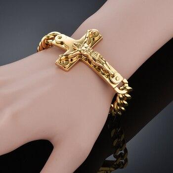 b0292ff8242e Para hombre pulseras cruz de Jesús de acero inoxidable hombre al por mayor  brazaletes pulseira Color oro cubano cadena enlace pulsera de la joyería de  los ...
