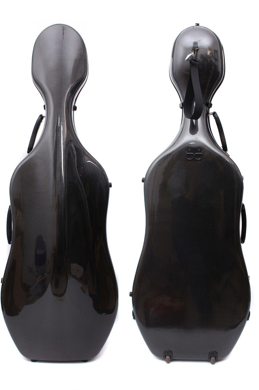Yinfente funda para violonchelo de fibra de carbono 4/4 estuche de violonchelo duro estuche para violonchelo de alta resistencia luz fuerte 3,6 kg