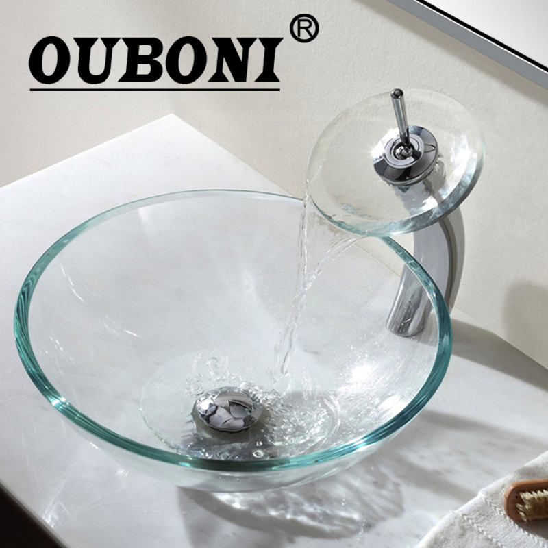 OUBONI Tempered Glass Sinks Polish Chrome Bathroom Sink Washbasin Ceramic Lavatory Bath Sink Combine Set Torneira Mixer Faucet